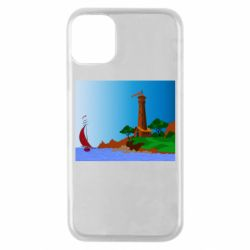 Чехол для iPhone 11 Pro Lighthouse and ship vector