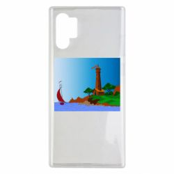 Чехол для Samsung Note 10 Plus Lighthouse and ship vector