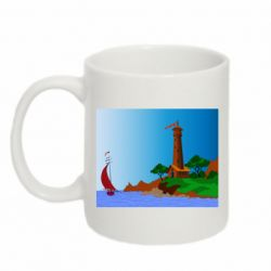 Кружка 320ml Lighthouse and ship vector