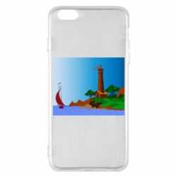 Чехол для iPhone 6 Plus/6S Plus Lighthouse and ship vector