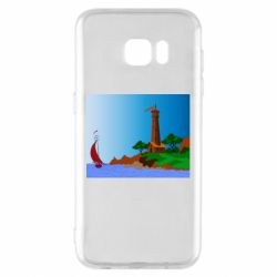 Чехол для Samsung S7 EDGE Lighthouse and ship vector