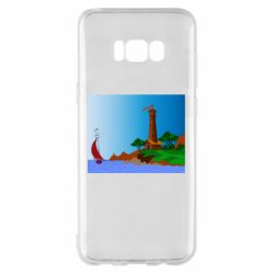 Чехол для Samsung S8+ Lighthouse and ship vector