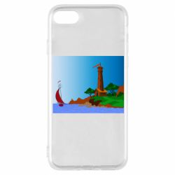 Чехол для iPhone 8 Lighthouse and ship vector