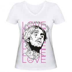 Жіноча футболка з V-подібним вирізом Lil Peep: love head
