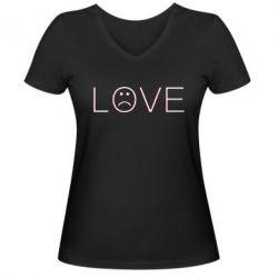 Жіноча футболка з V-подібним вирізом lil peep: love