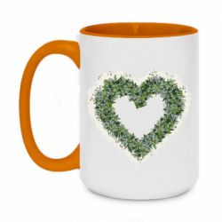 Кружка двухцветная 420ml Lilies of the valley in the shape of a heart