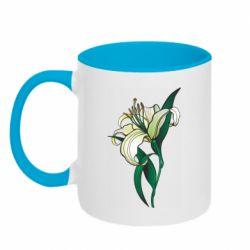 Кружка двоколірна 320ml Lily flower