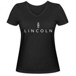 Женская футболка с V-образным вырезом Lincoln logo - FatLine