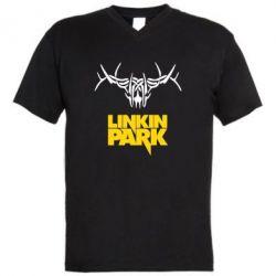 Мужская футболка  с V-образным вырезом Linkin Park Logo - FatLine