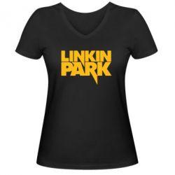 Женская футболка с V-образным вырезом Линкин Парк - FatLine