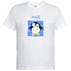 Мужская футболка  с V-образным вырезом Linux pinguine - FatLine