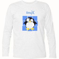 Футболка с длинным рукавом Linux pinguine