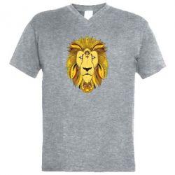 Мужская футболка  с V-образным вырезом Lion art