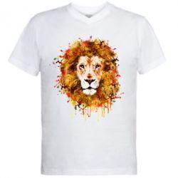 Мужская футболка  с V-образным вырезом Lion Art - FatLine