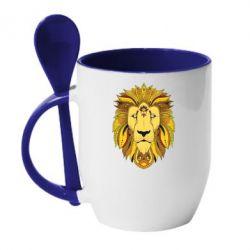 Кружка с керамической ложкой Lion art