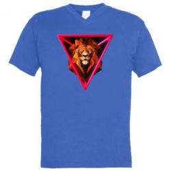 Чоловіча футболка з V-подібним вирізом Lion art
