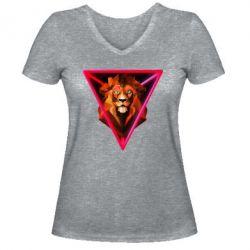 Жіноча футболка з V-подібним вирізом Lion art