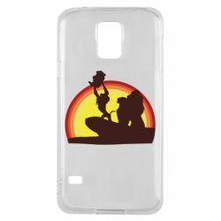 Чехол для Samsung S5 Lion king silhouette
