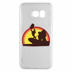 Чехол для Samsung S6 EDGE Lion king silhouette