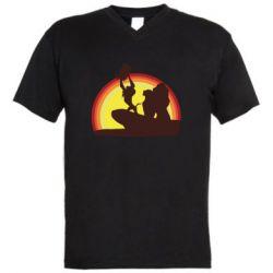 Мужская футболка  с V-образным вырезом Lion king silhouette