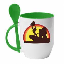 Кружка с керамической ложкой Lion king silhouette