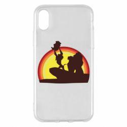 Чехол для iPhone X/Xs Lion king silhouette