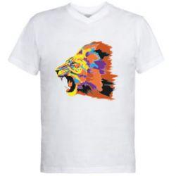 Мужская футболка  с V-образным вырезом Lion multicolor