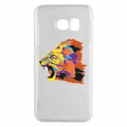 Чехол для Samsung S6 EDGE Lion multicolor