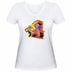 Женская футболка с V-образным вырезом Lion multicolor