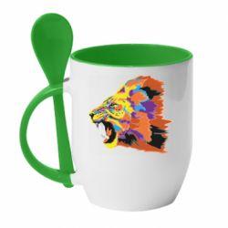 Кружка с керамической ложкой Lion multicolor