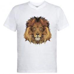 Мужская футболка  с V-образным вырезом Lion Poly Art