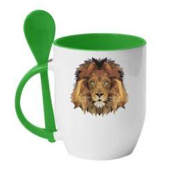 Кружка с керамической ложкой Lion Poly Art