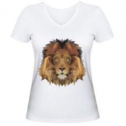 Женская футболка с V-образным вырезом Lion Poly Art