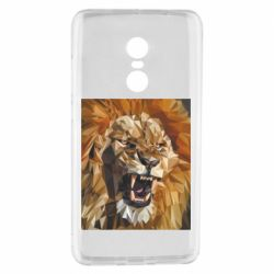 Чехол для Xiaomi Redmi Note 4 Lion roars low poly style