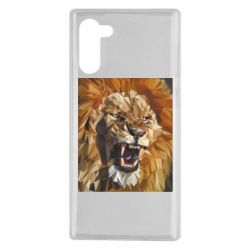 Чехол для Samsung Note 10 Lion roars low poly style