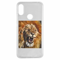 Чехол для Xiaomi Redmi Note 7 Lion roars low poly style