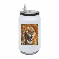 Термобанка 350ml Lion roars low poly style