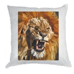 Подушка Lion roars low poly style