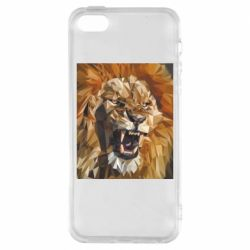 Чохол для iphone 5/5S/SE Lion roars low poly style