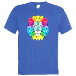 Мужская футболка  с V-образным вырезом Lion vector