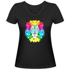 Женская футболка с V-образным вырезом Lion vector