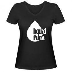 Женская футболка с V-образным вырезом Liquid funk - FatLine
