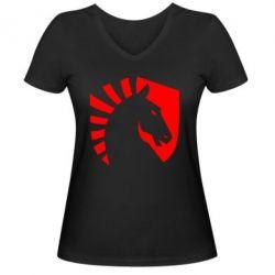 Жіноча футболка з V-подібним вирізом liquid logo
