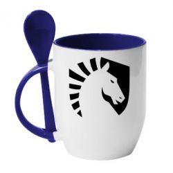 Кружка з керамічною ложкою liquid logo