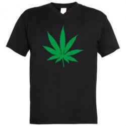 Мужская футболка  с V-образным вырезом Листик марихуаны