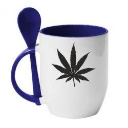 Кружка з керамічною ложкою Листочок марихуани