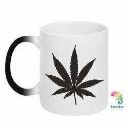 Кружка-хамелеон Листочок марихуани