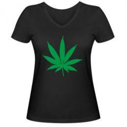 Женская футболка с V-образным вырезом Листик марихуаны