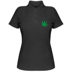 Женская футболка поло Листик марихуаны