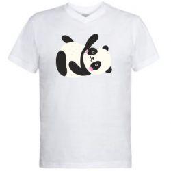 Мужская футболка  с V-образным вырезом Little panda
